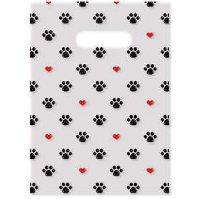"Scatter Print Plastic Clinic Supply Bags - 9"" x 12"" - Red Hearts"