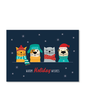 3-Up Laser Veterinary Holiday Postcards - Bundled Up