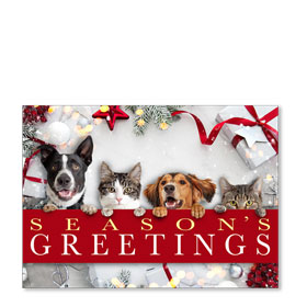 3-Up Laser Veterinary Holiday Postcards - Furry Friends