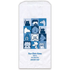 """Personalized Paper Pharmacy Bags - 5"""" x 2 1/2"""" x 10"""" - Bag Design 34"""