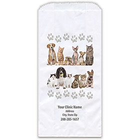 """Personalized Paper Pharmacy Bags - 5"""" x 2 1/2"""" x 10"""" - Bag Design 37"""