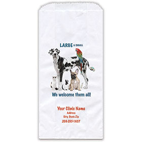"Personalized Paper Pharmacy Bags - 5"" x 2 1/2"" x 10"" - Bag Design 38"