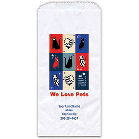 """Personalized Paper Pharmacy Bags - 5"""" x 2 1/2"""" x 10"""" - Patriotic Pets"""