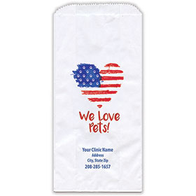 """Personalized Paper Pharmacy Bags - 5"""" x 2 1/2"""" x 10"""" - Heart Flag"""