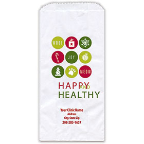 """Personalized Paper Pharmacy Bags - 5"""" x 2 1/2"""" x 10"""" - Holiday Dots"""
