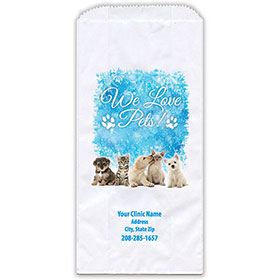 """Personalized Paper Pharmacy Bags - 5"""" x 2 1/2"""" x 10"""" - Icy Holidays"""