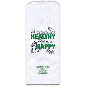 """Personalized Paper Pharmacy Bags - 5"""" x 2"""" x 12"""" - Bag Design 30"""