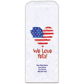 """Personalized Paper Pharmacy Bags - 5"""" x 2"""" x 12"""" - Heart Flag"""