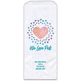 """Personalized Paper Pharmacy Bags - 5"""" x 2"""" x 12"""" - Heart of Paws"""