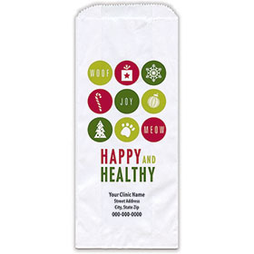 """Personalized Paper Pharmacy Bags - 5"""" x 2"""" x 12"""" - Holiday Dots"""