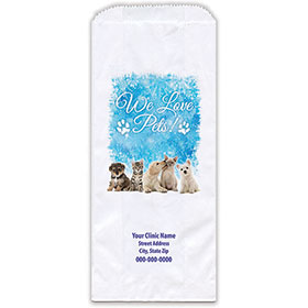 """Personalized Paper Pharmacy Bags - 5"""" x 2"""" x 12"""" - Icy Holidays"""