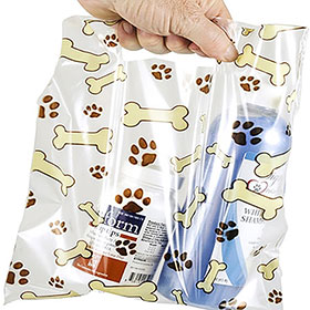 "Scatter Print Plastic Clinic Supply Bags 9"" x 9"""