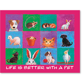 "11"" x 14"" Wall Art Poster - Life Is Better with a Pet - Pink"