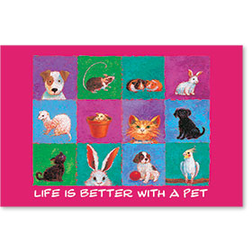 "12"" x 18"" Wall Art Poster - Life Is Better with a Pet - Pink"