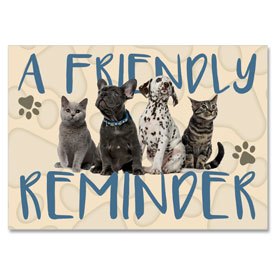 4-Up Laser Veterinary Postcards - Four Friends