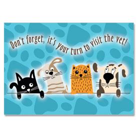 4-Up Laser Veterinary Postcards - Take Turns