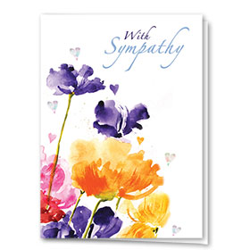 Full Color Sympathy Card-Vivid Poppies