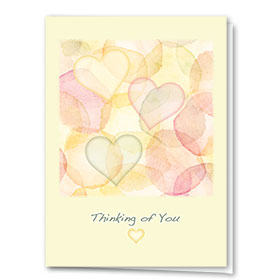 Full-Color Medical Sympathy Cards - Watercolor Hearts