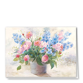 Full-Color Multi-Use Medical Greeting Cards - Delphiniums