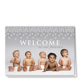 Full Color Welcome Card-Showering Hearts