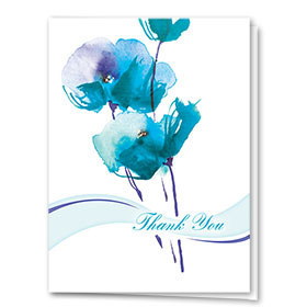 Full Color Thank You Card-Painted Flowers