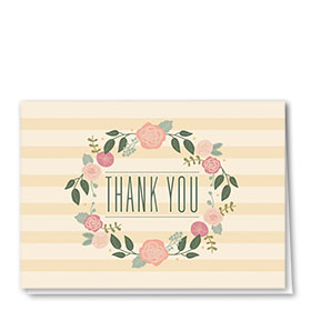 Full Color Thank You Card-Blooming Garland