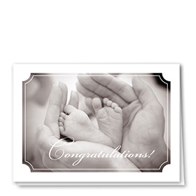 Full-Color Medical Congratulations Cards - Baby Feet