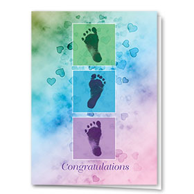 Full-Color Medical Congratulations Cards - Little Feet