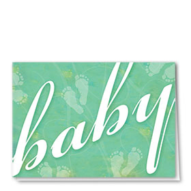 Full-Color Medical Congratulations Cards - Baby Foot Prints