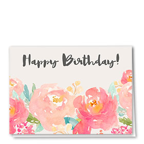Full-Color Medical Birthday Cards - Pink Flowers