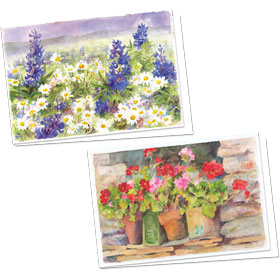 Full-Color Medical Appointment Card Assortment - Lupine & Geraniums
