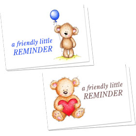 Full-Color Appointment Card Assortment-Bear Hug Reminder