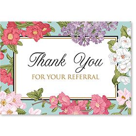 Standard Medical Thank You Postcards - Floral Referral
