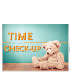 Fold-over Medical Postcards - Checkup Teddy