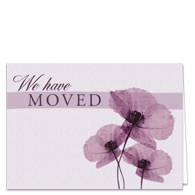 Fold-over We've Moved Postcards - Purple Flowers