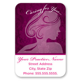 Full-Color Medical Business Card Magnets - Fuschia