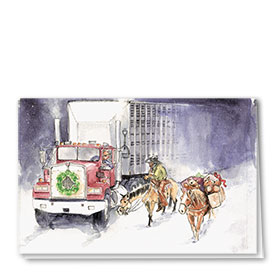 Construction Holiday Cards - Cattle Truck