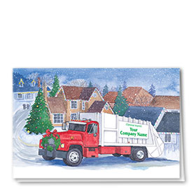 Construction Holiday Cards - Early Morning Pickup
