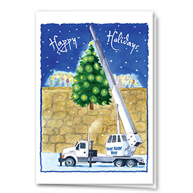 Construction Holiday Cards - Raising the Tree