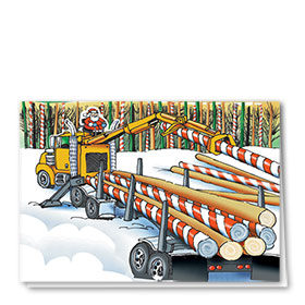 Logging Christmas Cards - Candy Cane Self Loader