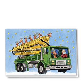 Construction Christmas Cards - Reindeer on Board