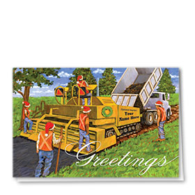Construction Christmas Cards - Holiday Paving Crew