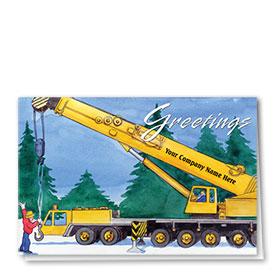 Construction Christmas Cards - Forest Crane