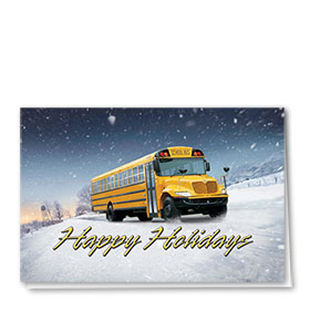 Construction Christmas Cards - Snowy School Day