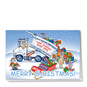 Trucking Christmas Greeting Cards - Uploading Gifts