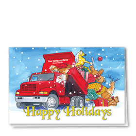 Trucking Christmas Greeting Cards - Unloading Toys
