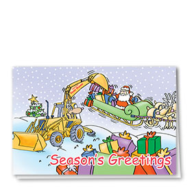 Construction Christmas Cards - Loading the Sleigh