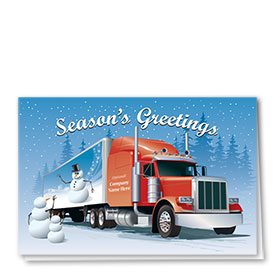 Trucking Christmas Cards - Snowman Mural