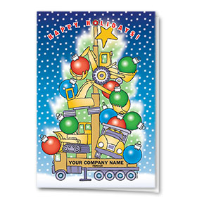 Construction Christmas Cards - Construction Tree