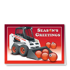 Construction Christmas Cards - Red Bobcat
